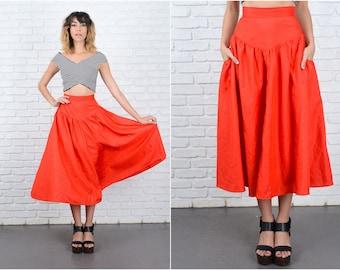 Vintage 80s Red Vivid Skirt A-Line High Waist Retro Midi Small S 9311