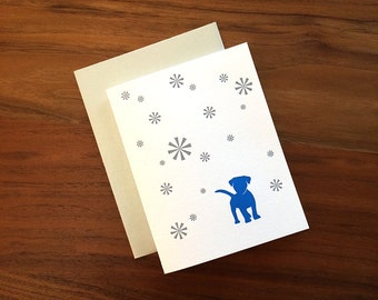 Blue Puppy with Snowflakes - Letterpress Holiday Card -
