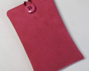 Handmade iPod nano 7th and 8th generation pouch. Pink faux suede.