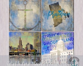 Coaster Set | Providence Blues | Landmarks and Maps Style | Cork Back Non Slip | Options at Checkout
