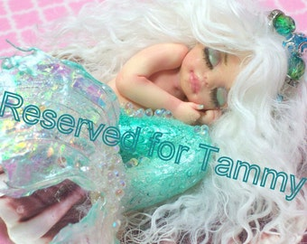 Reserved for Tammy....OOAK art doll fantasy mermaid baby polymer clay sculpture fairy handmade collectable  IADR       free shipping
