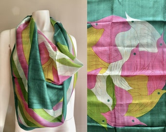Silk Bird Scarf From India Pink Mustard and Green