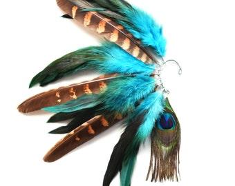 Feather Ear Cuff, Ear Cuff, Festival Earrings, Feather Earrings, Peacock, OOAK