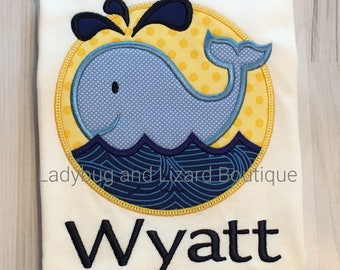 Infant Boy's Whale Short Sleeve Bodysuit with Monogram Size 0/3M, 3/6M, 6/9M, 12M, 18M