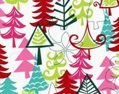 SHOP CLOSING SALE Christmas Fabric for quilt or craft Michael Miller Holidays Yule Trees in Multi Half yard