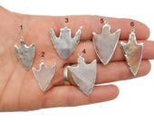 Ancient Neolithic Arrowhead Pendant Silver Electroplated Edge YOU CHooSE (Lot S-59) Made in Usa