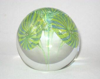 Fratelli Toso w/ Label Signed Murano Art Glass Magnum Paperweight Latticino Filigrana Trumpet Flowers