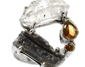 Herkimer Diamond, Black Tourmaline Sterling Silver Ring  s.9