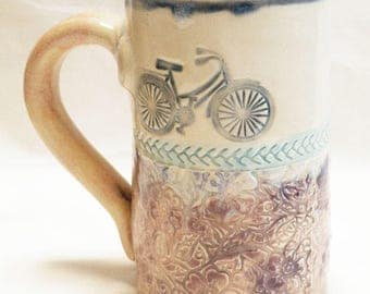 Ceramic mug 16oz bicycle stoneware 16D036