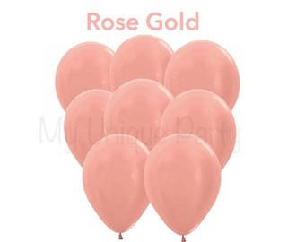 "Rose Gold 11"" Latex Balloons Set of 6 Balloons Metallic Rose Gold Helium Quality Bridal Shower Wedding Anniversary Rose Gold Theme"