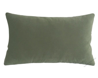 Sage Green Velvet Suede Decorative Throw Pillow Cover / Pillow Case / Cushion Cover / 12x18""