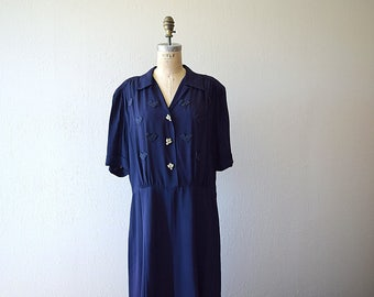 1940s navy blue dress . vintage 40s dress