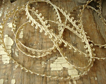 3 Yards - Vintage German  Mocha Taupe Picot Edge Lace
