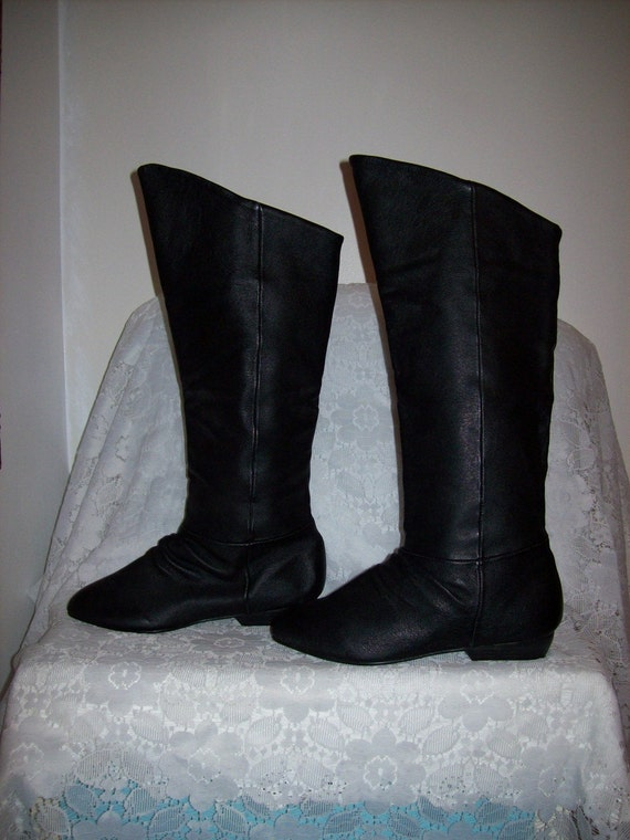 vintage black leather cuffable pirate boots by