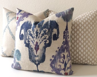 Purple, Navy, Blue and Oatmeal Ikat Decorative Pillow Cover