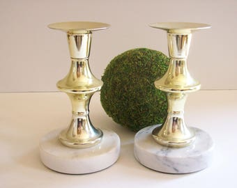 Gold and Marble Candlesticks, Candle Holders, Vintage, Hollywood Regency