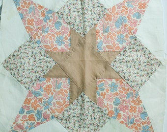 """Antique Quilt 14"""" Square, Perfect for Framing, Wall Decor, Pillow"""