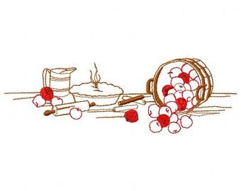 Apple Pie Basket Embroidery Design - Instant Download