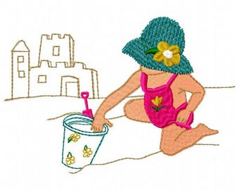 Girl at the Beach Embroidery Design - Instant Download