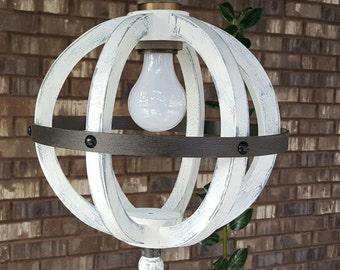"10"" Mini Distressed Painted White Wood Orb Pendant Sphere Wood Chandelier Rustic Farmhouse"