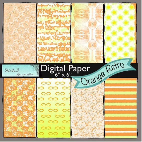 We Are 3 Digital Paper, Orange Retro