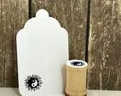Yin Yang with Lotus Mandala Rubber Stamp