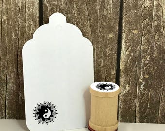 Yin Yang with Lotus Mandala Rubber Stamp