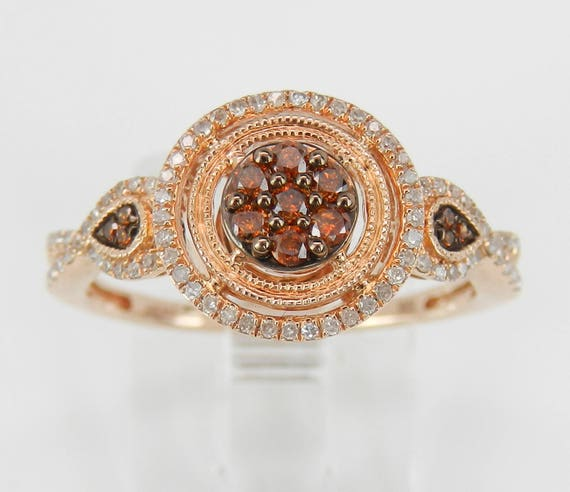 White and Orange Diamond Cluster Cocktail Halo Engagement Ring Rose Gold Size 7