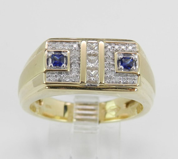 Mens Diamond and Sapphire Wedding Ring Anniversary Band Yellow Gold Size 10