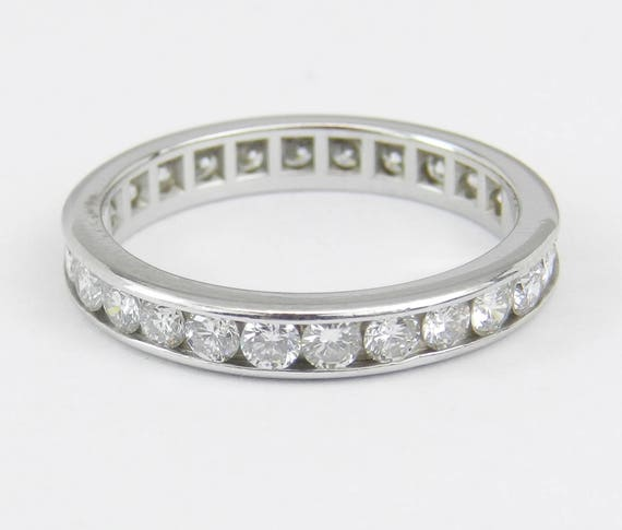 Platinum 1.00 ct Diamond Eternity Wedding Ring Anniversary Band Stackable Size 5
