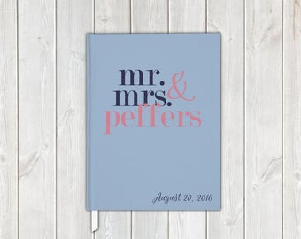 Mr and Mrs Block Letters Wedding Guest Book in Navy Blue and Rose Pink with Last Name - Personalized Traditional Guestbook, Journal, Album