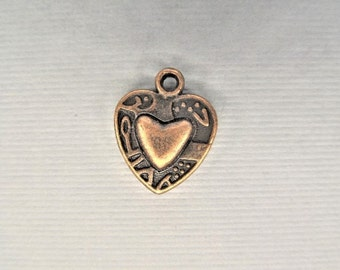 15mm, 15CT. Copper Toned Heart Charms, Y49