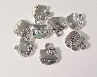 8CT. Hello Kitty Inspired Charms, 12mm*11mm, silver plated, zinc alloy (Y56)