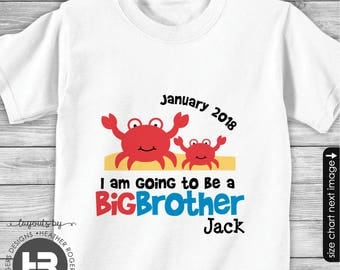 Crab Big Brother to be Shirt - I'm Going To Be A Big Brother Crab Shirt - Summer Pregnancy Announcement Shirt