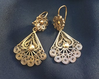 SALE Antique Filigree Earrings Circa Late 1800's - Early 1900's