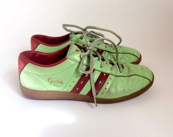Vintage sneakers by Quick, dutch mint green and red lace retro sneakers womens quircky sports shoes