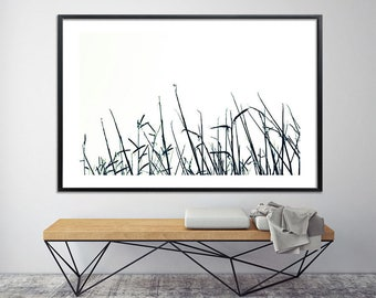 Large art, Grass Large Canvas Print, Giclee Print up to 40X60, huge wall decor, nature prints, black and white