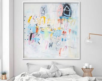 Large Wall Art, ABSTRACT PRINT from Painting, Canvas art, 40X40, Large Abstract Art, Modern White Painting Houses in Ponza