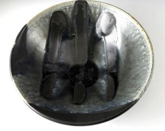 Pottery Serving Bowl, Large Ceramic Bowl, Black Bowl, Gray Bowl, Modern Ceramic Bowl,Handmade Pottery, Modern Ceramics, Stoneware, B106