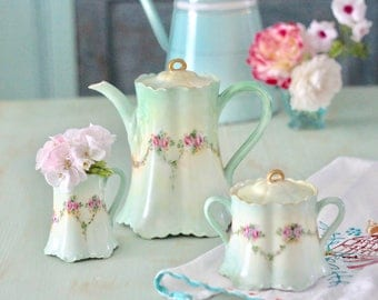 Vintage Porcelain Floral Green Coffee Set, Tea Set Chocolate Pot - Haviland