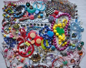Destash Junk Jewelry 2 pounds Colorful Seedbeads Beads Pins Crafting
