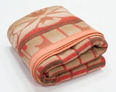 Beacon Camp Blanket / Trade Blanket, Art Deco Plaid, Coral Pink Ombre