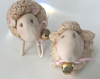 Sheep Gourds Set of Two Sheep Decorations Folk Art Sheep Primitive Sheep Decor Sheep Gourd Farm Decor