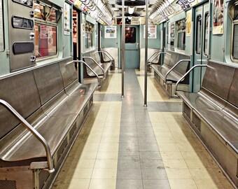 New York Photography, Blue Subway Car, NYC Subway Art, Train Photography, New York Dorm Decor, Retro Travel Art, Vintage New York, Fashion