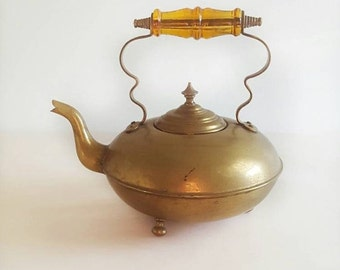 SALE Vintage 40's Brass Kettle With Amber Glass Handle