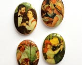 Assorted Porcelain Cameos, 4 Piece Lots, Vintage French Social Couple Scenes, Jewelry Making, 25 x 18mm, Bsue Boutiques,  Item02397