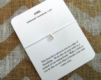 April Friendship Bracelet, Birthstone Bracelet, April Charm Bracelet, Gift for Friend Wish Bracelet Personalized Bracelet Diamond Birthstone