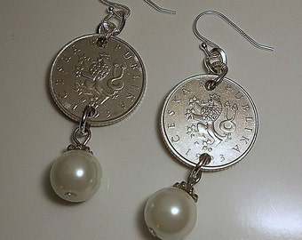 Czech Republic Vintage  Coin Earrings 1993