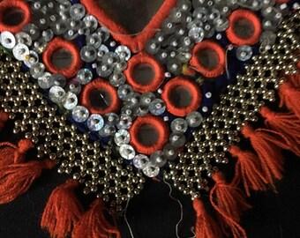 Vintage Afghanistan KUCHI Tribal Embroidery Beadwork Panel Cheesy Hearts TRIM Costume Supply Belly Dance Uber Kuchi®
