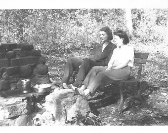 "Vintage Snapshot ""Around The Campfire"" Women Talking Conversation Fireplace Wooden Bench Found Vernacular Photo"